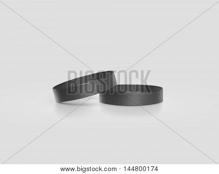 Blank black rubber wristband mockup clipping path 3d illustration. Clear sweat band stack mock up design. Sport sweatband pile template. Silicone fashion round social bracelet. Unity band.