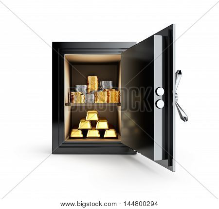 Precious metals stored in safe box isolated on white background - 3D Rendering