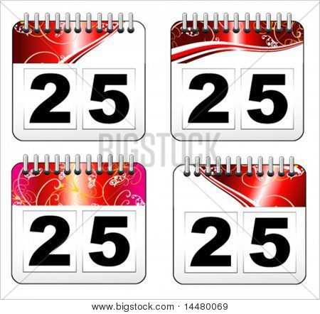 VECTOR Set of Christmas day calendar iconss