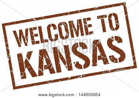 welcome to Kansas. stamp. grunge square sign