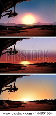 Scene with rock climber at sunset illustration