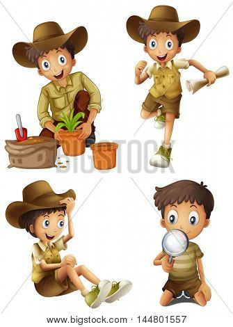 Kids in hiking and camping gear