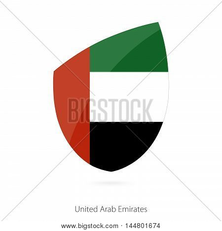 Flag of United Arab Emirates in the style of Rugby icon. Vector Illustration.