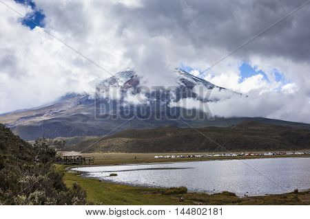Cotopaxi Ecuador - January 2 2016: Hundreds of people visit the Cotopaxi National Park on the day of its reopening after the period of eruptions of the volcano