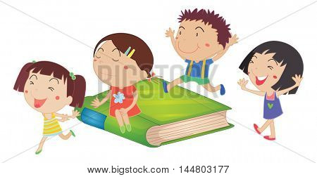 Children and giant green book illustration