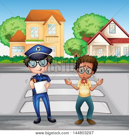Policeman recording crime incident on the road illustration