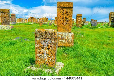 The medieval Noratus Cemetery is the unique collection of preserved medieval examples of the national Armenian art the carved khachkars Gegharkunik Province Armenia.