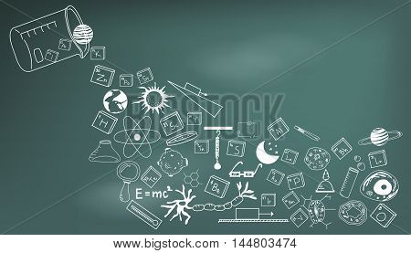 Physics chemistry biology and astronomy science doodle handwriting theory and tool icon pouring from lab beaker bottle in blackboard background paper used for school education and document decoration create by vector
