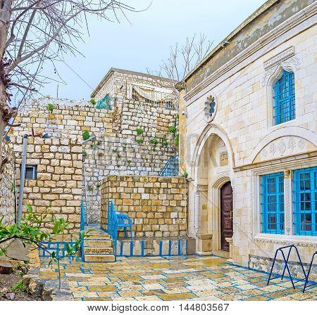 The white facade of Abuhav Synagogue named after the Spanish Rabbi and Kabbalist Isaac Abuhav Safed Israel.