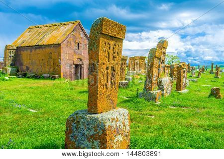 Each khachkar at Noratus Cemetery boasts unique and complex ethnic pattern carved on it Noratus Cemetery Gegharkunik Province Armenia.