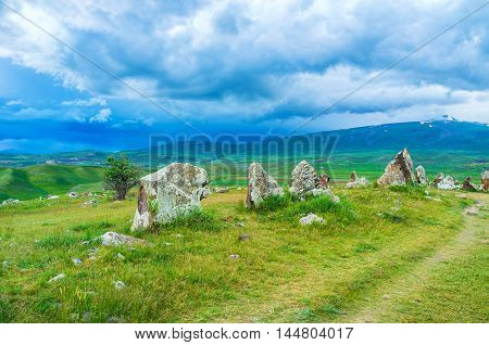 The prehistoric archaeological monument named Zorats Karer (Army of stones) or Carahunge located in highlands of Syunik Province Armenia.
