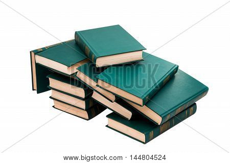 stack of book school textbook on a white background