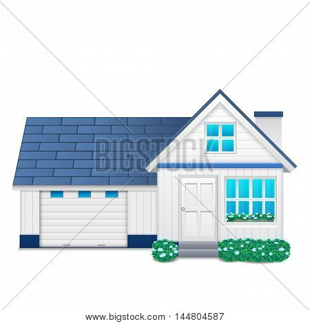 Suburban family house with garage isolated on a white background
