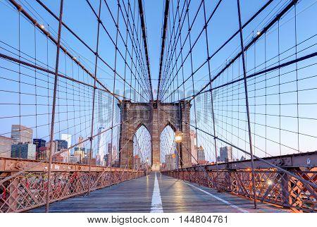 New York Brooklyn bridge at nigth USA