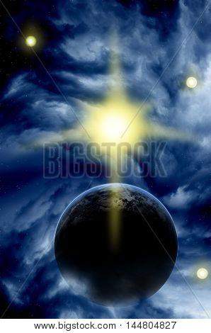 Planet in deep space. Alien planet. Space scene