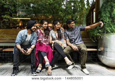 Indian Friends Hangout Taking Picture Concept