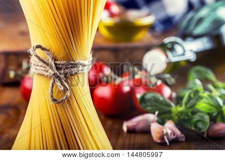 Spaghetti. Some ingredients of Italian cuisine.Italian cuisine.