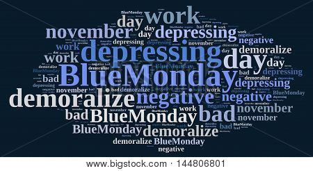 Illustration with word cloud on Blue Monday the worst day of the year.3D rendering.