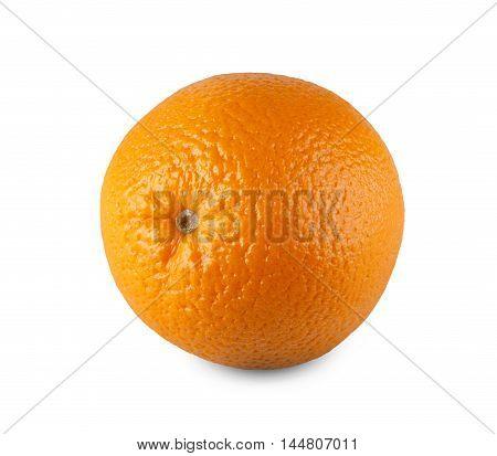 One fresh orange isolated on white background. Closeup image of ideal round citrus fruit, healthy natural organic food