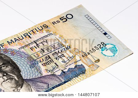 50 Mauritian rupees bank note. Mauritian rupee is the main currency of Mauritius