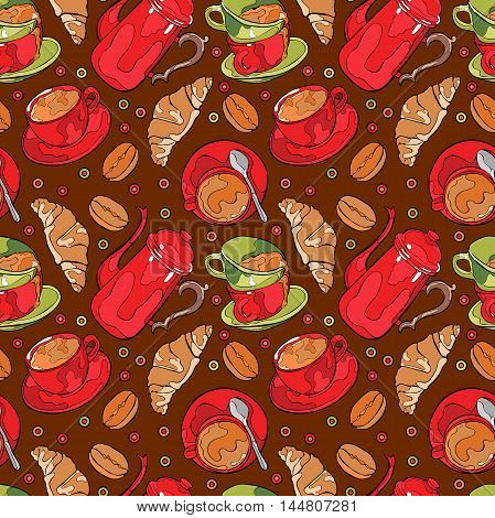 Hot drink. Coffee pot and coffee cup. Seamless vector pattern (background).