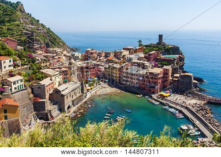 Panoramic view of old colorful village of Vernazza in Cinque Terre Italy