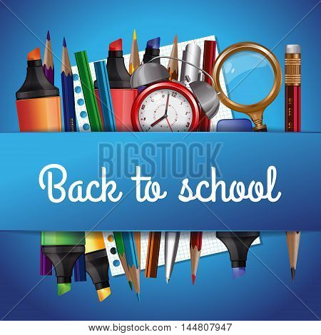 Back to school background with various school tools on a blue background. Vector illustration