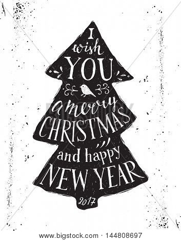Christmas card with hand drawn lettering - I wish you a merry Christmas and happy New Year 2017