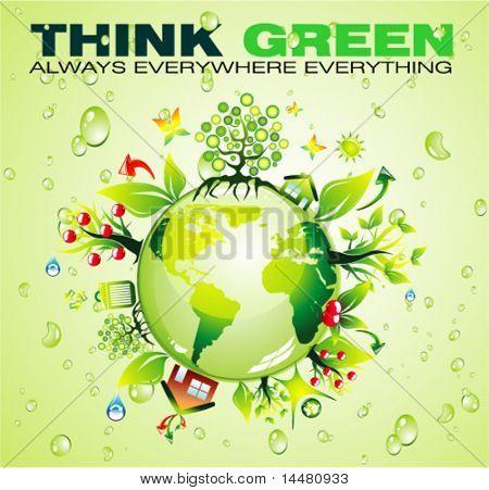 Reciclagem mundo conceito fundo VECTOR com muito verde e natureza de elementos