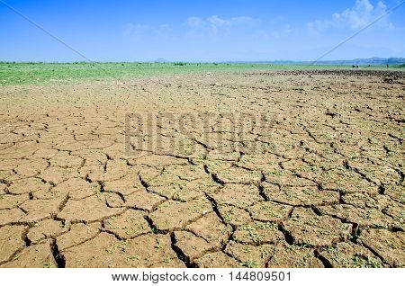 Drought, the ground cracks, no hot water, lack of moisture with blue sky