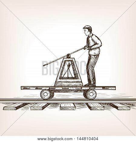 Man drives railway draisine handcar sketch style vector illustration. Old engraving imitation.