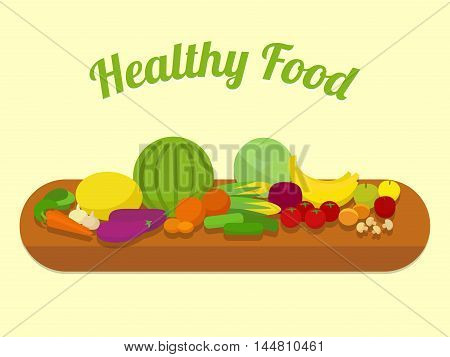Healthy food. Fruits and vegetables. Cartoon colorful vector illustration