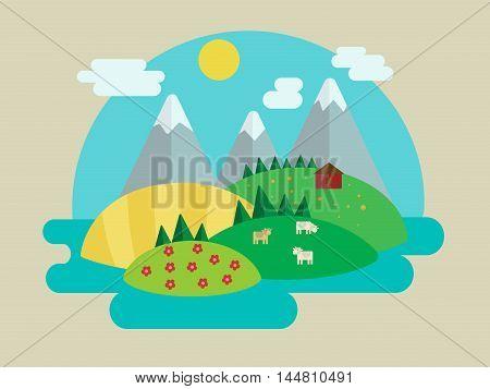 Minimalistic nature landscape. Cartoon colorful vector illustration