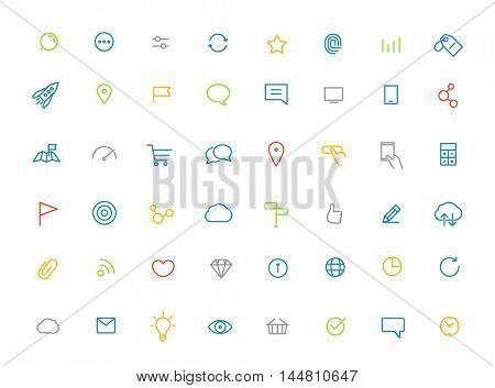 Modern web and mobile application color pictograms collection. Lineart intercece icons set