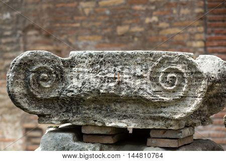 ROME, ITALY - JUNE 12, 2015: Ancient Roman column in the ruins of the Baths of Diocletian in Rome Italy