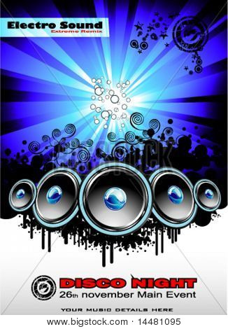 VECTOR Big musical Event Disco Night template