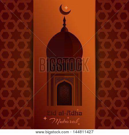 Greeting card with mosque moon star and inscription - Eid al-Adha Mubarak. Eid al-Adha - Festival of the Sacrifice. Muslim holiday. Vector illustration