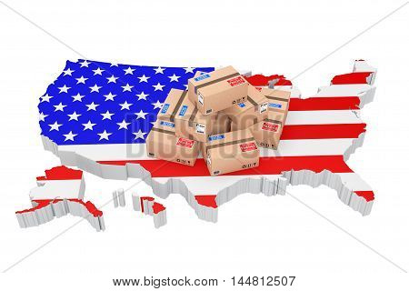 Online Shopping in USA Concept. Parcels over USA Map on a white background. 3d Rendering