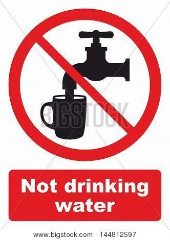 Not drinking water sign, water is not safe to drink