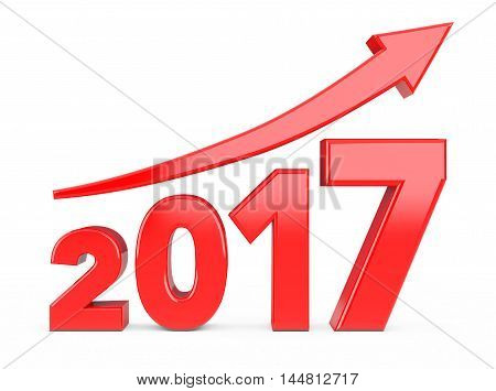 Progress Arrow in New 2017 Year Sign on a white background. 3d Rendering