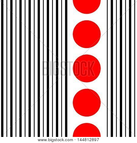 Seamless Vertical Stripe and Circle Pattern. Vector Black and Red Minimal Background. Abstract Minimal Design