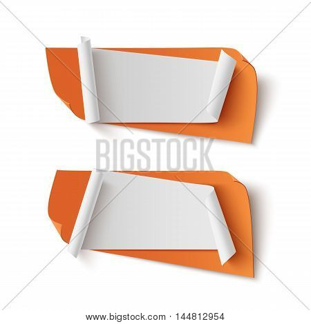 Two orange, abstract, blank banners isolated on white background. Vector illustration.