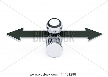 Balance Choise and Harmony concept. Metal ball over arrow on a white background. 3d Rendering