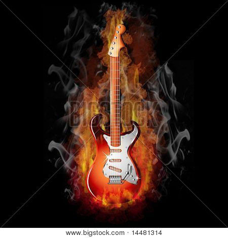 Hot Fire on a Red Electric Guitar - Music Series