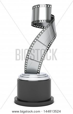 Silver Film Strip Award on a white background. 3d Rendering