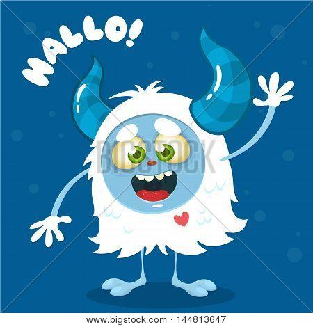 Cute cartoon monster. Vector Halloween bigfoot character waving