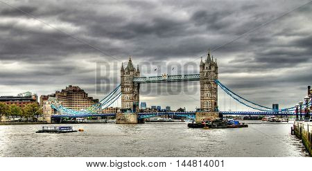 Thames river and London bridge at the nasty day