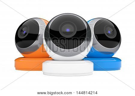 Multicolour Computer Spherical Web Cameras on a white background. 3d Rendering