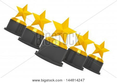 Five Gold Star Awards on a white background. 3d Rendering