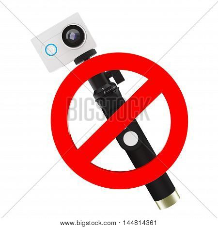 No Action Camera Sign on a white background. 3d Rendering